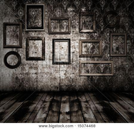 old grunge interior wooden frames