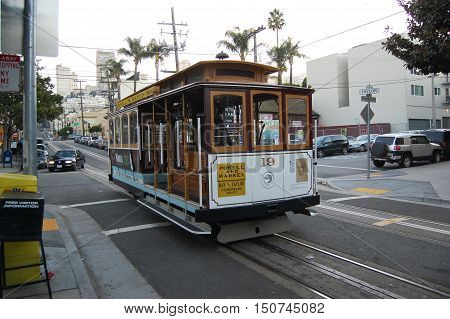 SAN FRANCISCO - DEC. 29, 2008: Antique Cable Car on Powell Street in San Francisco, California, USA.
