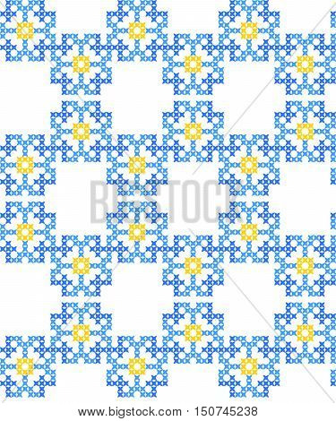 Seamless embroidered texture of abstract flat patterns, cornflowers, cross-stitch, ornament for cloth