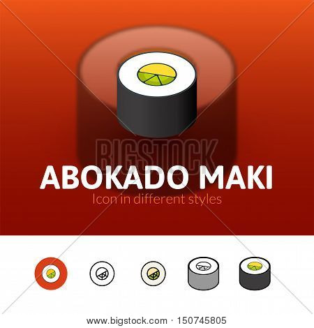 Abokado maki color icon, vector symbol in flat, outline and isometric style isolated on blur background