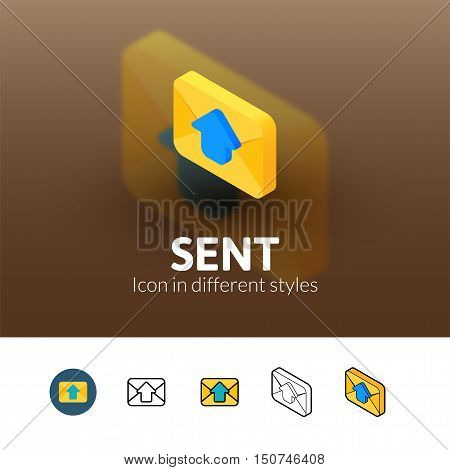Sent color icon, vector symbol in flat, outline and isometric style isolated on blur background