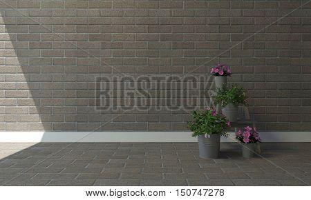 Pink flowers in vase on floor with vintage brick wall background and copyspace-3d rendering