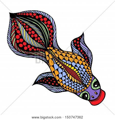 Zentangle Vector Gold Fish For Tattoo In Boho Hipster Style Ornamental Tribal Patterned Illustration