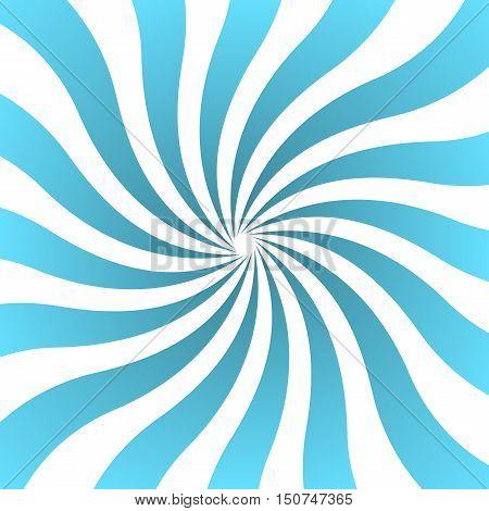 Blue white rays poster. Popular ray star burst background television vintage. Dark-light abstract texture with sunburst flare beam. Retro sunbeam art design. Glow bright pattern. Vector Illustration