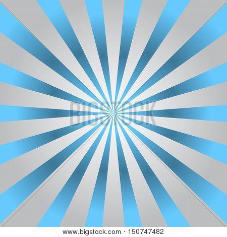 Blue gray rays poster. Popular ray star burst background television vintage. Dark-light radial abstract texture with sunburst flare beam. Retro art design. Glow bright pattern. Vector Illustration