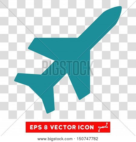 Vector Aeroplane EPS vector pictograph. Illustration style is flat iconic soft blue symbol on a transparent background.
