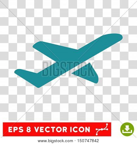 Vector Airplane Takeoff EPS vector icon. Illustration style is flat iconic soft blue symbol on a transparent background.