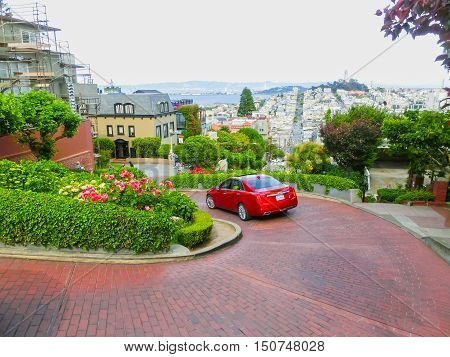 San Francisco California United States of America - May 04 2016: View of Lombard Street in San Francisco California USA. Lombard street is crookedest street in the world.