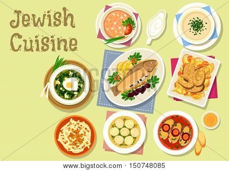 Jewish cuisine dishes icon with gefilte fish, stuffed prune trout, dumpling chicken soup, lentil chowder, vegetable fish stew, cold sorrel soup, radish salad with honey and nut, chicken liver pate