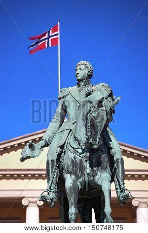 Statue of Norwegian King Karl Johan XIV in Oslo Norway poster