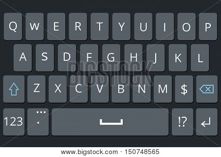 Smartphone keyboard, mobile phone keypad vector mockup. Keyboard for mobile device illustration