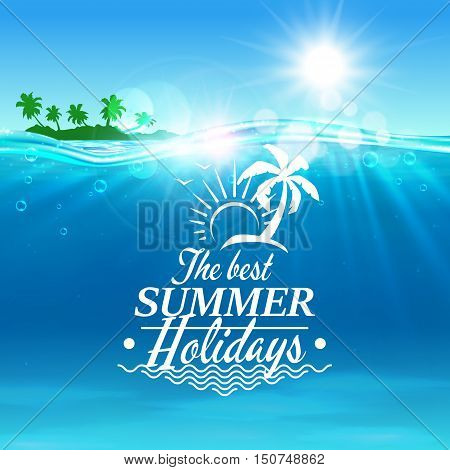 Summer holiday vector poster. Ocean, tropical palm island, shining sun, water waves, seagull. Placard for travel advertisment, agency, flyer, greeting card hotel resort