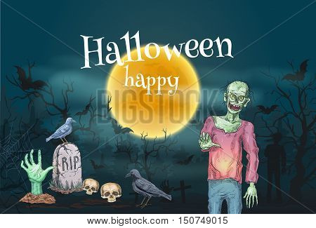 Halloween Party celebration design for invitation poster, banner, card, flyer. Halloween pumpkin, undead zombie on cemetery, skeleton hand from grave, tomb with cross. Spooky, scary and creepy haunted forest background
