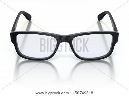 Black plastic frame eye glasses on white reflective background - 3D illustration