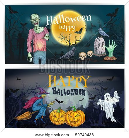 Spooky halloween pumpkin lantern, walking zombie, flying ghost, witch broom, night grave with undead hand. Scary comic design for Happy Halloween holiday greeting cards, posters, banners, decorations