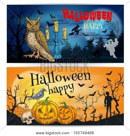 Artistic posters and cards for Happy Halloween celebration. Sketched halloween elements and characters for decoration. Traditional pumpkin, walking undead, skull, night owl on dark horror background