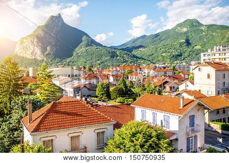 Beautiful cityscape view on the old residential district with mountains in Grenoble city on the east of France