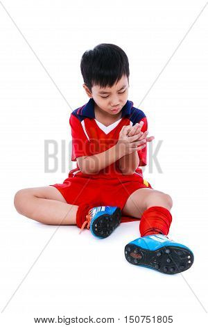 Youth Asian Soccer Player With Pain At Hand. Full Body.