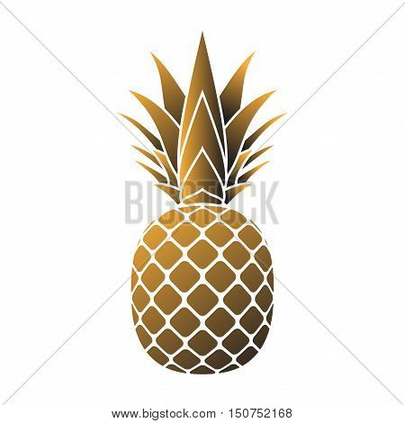 Pineapple gold icon. Tropical fruit isolated on white background. Vector illustration