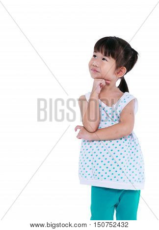 Asian Girl Thinking And Smiling. Isolated On White Background