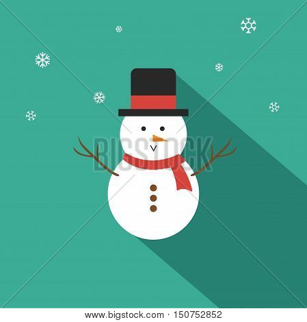 Snowman Vector illustration Flat Design On Tosca Green Background