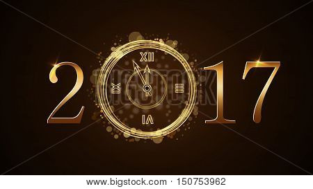 Happy New Year background with magic gold clock countdown. Golden numbers 2017. Vector illustration