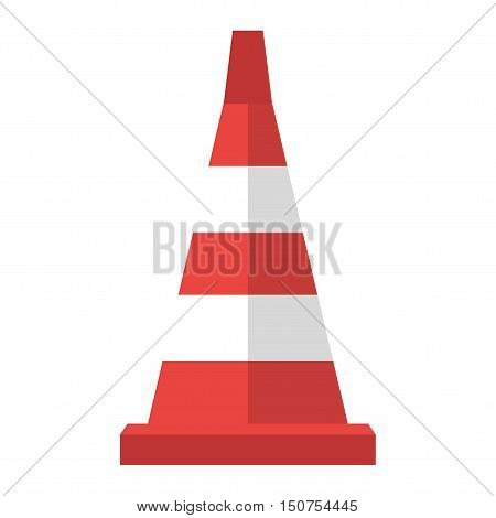 Red road cone barrier and street warning traffic cone flat icon. Construction of red road cones with stripes attention symbol cartoon flat vector illustration.