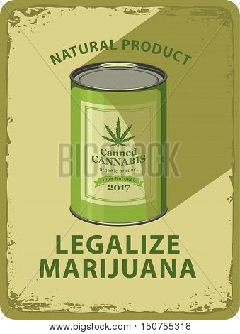vector banner with tin can canned hemp and labeled legalization of marijuana
