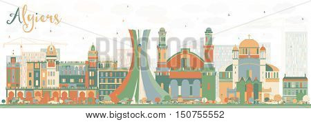 Abstract Algiers Skyline with Color Buildings. Business Travel and Tourism Concept. Image for Presentation Banner Placard and Web Site.
