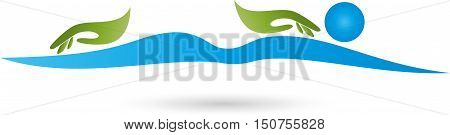 Man and two hands, massage and naturopathic logo