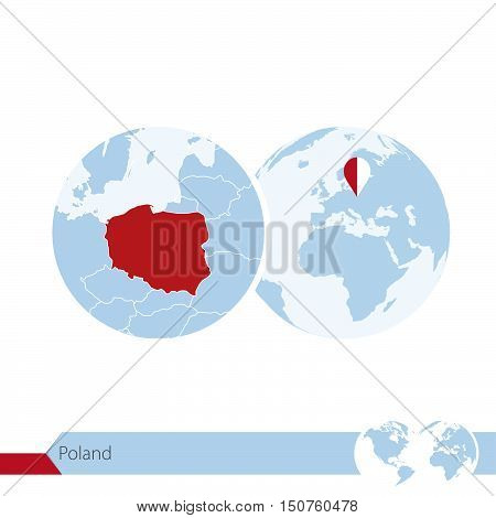 Poland On World Globe With Flag And Regional Map Of Poland.