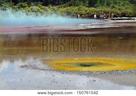 Champagne Pool in Wai-O-Tapu Geothermal Wonderland, Rotorua, New Zealand.