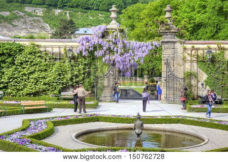 SALZBURG AUSTRIA - May 05.2012: An ancient garden of palace complex Mirabelle is in city Salzburg