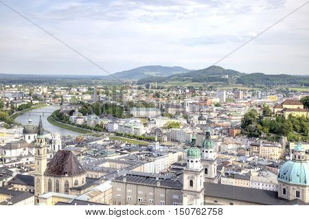 View on a city Salzburg from the castle of Hohensalzburg on mountain Festung