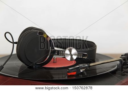 Headphones On An Old Retro Record Player