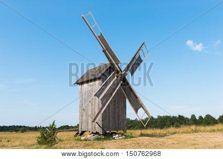 Old wooden windmill in Kukka, island of Hiiumaa, Estonia.