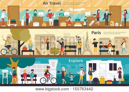 Air Travel Paris Explore flat tourism interior outdoor concept web. Career Chart Fun