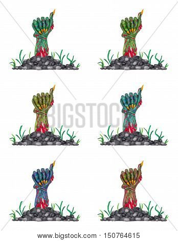 A collection of a colorful clay zombie hands.
