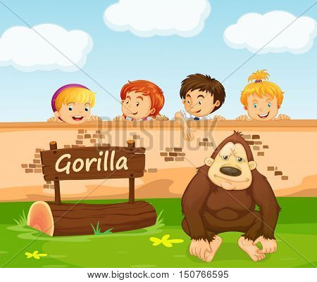 Children looking at gorilla in the zoo illustration