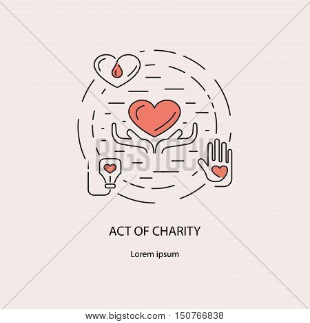 Banner with act charity symbols and transfusion process icons. Donor thin line concept. Set vector illustration.