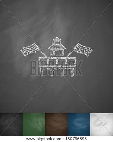 Parliament Building Miami icon. Hand drawn vector illustration. Chalkboard Design