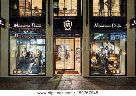 GENEVA, SWITZERLAND - NOVEMBER 18, 2015: a store in Geneva at night. Geneva is the second most populous city in Switzerland, after Zurich.