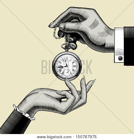 Hands of man and woman with a retro pocket watch. Vintage stylized drawing. Vector Illustration