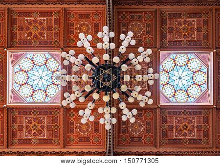 BUDAPEST HUNGARY - FEBRUARY 21 2016: Ceiling in The Great Synagogue is a historical building in Budapest Hungary. It is the largest synagogue in Europe.