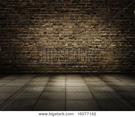 old grunge interior with brick wall poster
