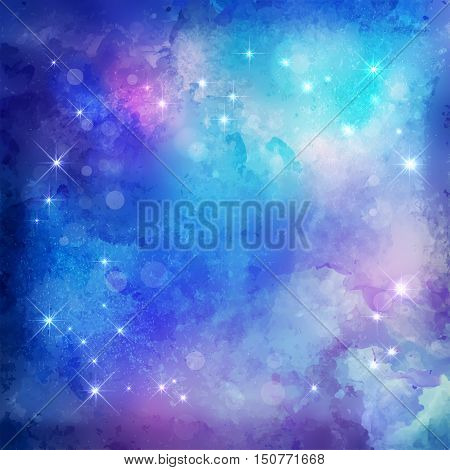 Abstract blue vector watercolor Christmas night background with subtle grunge texture and stars