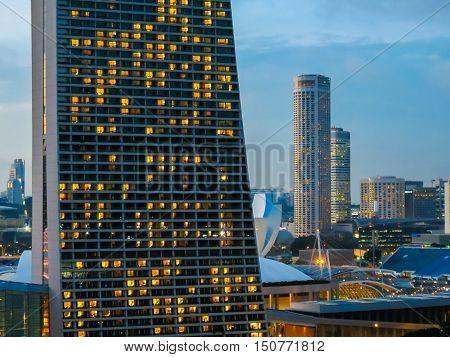 SINGAPORE, REPUBLIC OF SINGAPORE - JANUARY 09, 2014: Marina Bay Sands Singapore Hotel at twilight