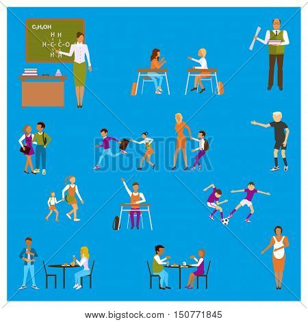 Set of Isolated illustrations Back to school - Teachers and pupils in different poses in schoolhouse and dining-hall. Isolated Students children in flat design for infographic. Vector eps10