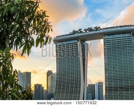 SINGAPORE, REPUBLIC OF SINGAPORE - JANUARY 09, 2014: Marina Bay Sands Singapore Hotel at sunset