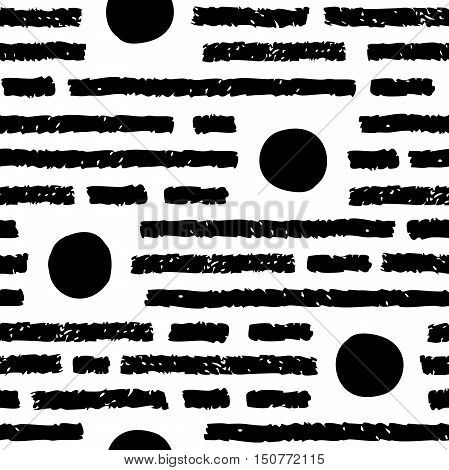 Abstract seamless pattern. Black horizontal strokes and round spots. Charcoal or pencil drawing. Grunge vector texture of fabric background print and web